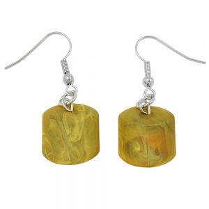 Boucles doreilles crochet inclinees perle jaune 02743xx
