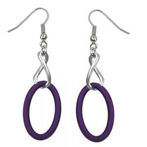 Boucles doreilles crochet maillons de chaine lilas et couleur argent noirci 02721xx