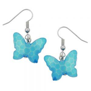 Boucles doreilles crochet papillon bleu clair 00564xx