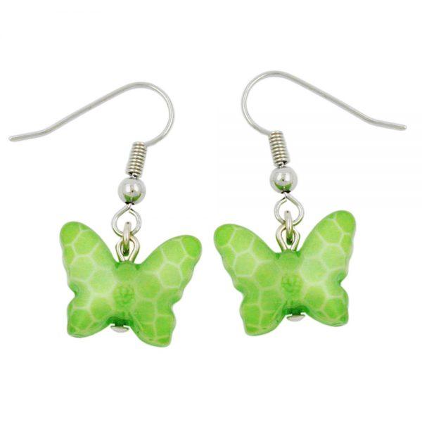 Boucles doreilles crochet papillon vert 00561xx