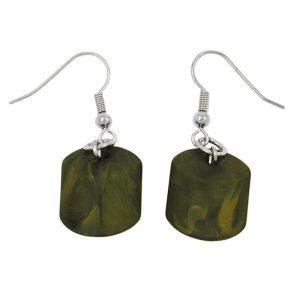 Boucles doreilles crochet perle oblique vert olive 04791xx