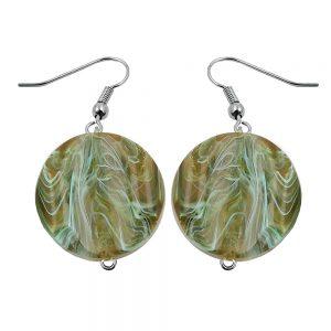 Boucles doreilles crochet perles marbrees vert olive 01032xx