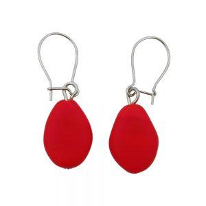 Boucles doreilles crochet plat olive en forme de rouge mat 01370xx