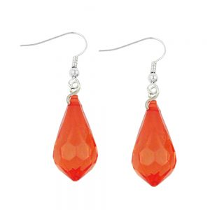 Boucles doreilles crochet rouge transparent broye 00732xx