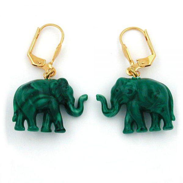 Boucles doreilles dormeuses minuscules elephants verts marbres 04818xx