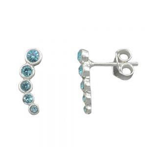 Boucles oreilles 5 pierres de verre bleu argent 925 Krossin bijoux en argent 93647xx