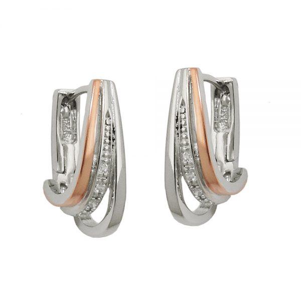 Boucles oreilles a deux tons argent 925 Krossin bijoux en argent 93688xx