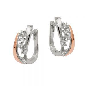 Boucles oreilles a deux tons argent 925 Krossin bijoux en argent 93765xx