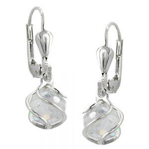 Boucles oreilles a levier Zircon cubique argent 925 Krossin bijoux en argent 90183xx