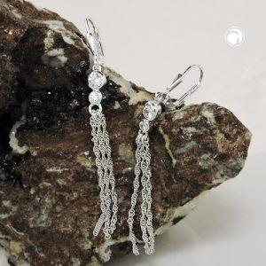 Boucles oreilles a levier avec chaine argent 925 Krossin bijoux en argent 93801x