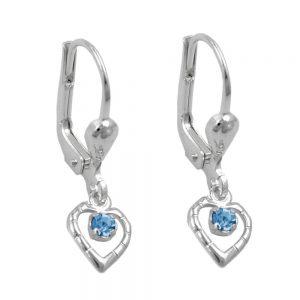 Boucles oreilles a levier bleu argent 925 Krossin bijoux en argent 90704xx
