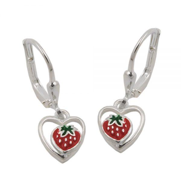 Boucles oreilles a levier en forme de fraise argent 925 Krossin bijoux en argent 93470xx