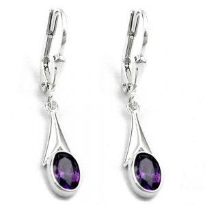 Boucles oreilles a levier zircon violet 925 Krossin bijoux en argent 90276xx