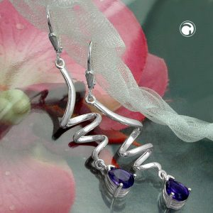 Boucles oreilles a spirale spirale amethyste argent 925 Krossin bijoux en argent 91972x