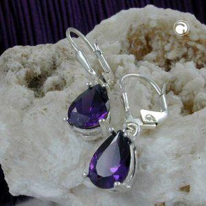 Boucles oreilles au levier amethyste argent 925 Krossin bijoux en argent 92810x
