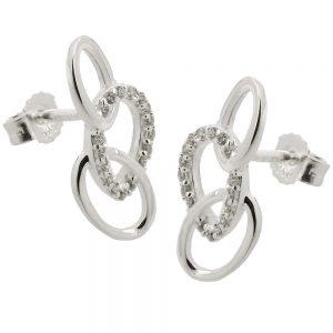 Boucles oreilles avec 3 ellipses argent 925 Krossin bijoux en argent 93806xx