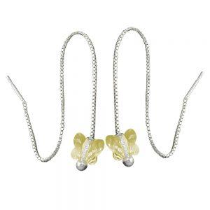 Boucles oreilles chaine jaune papillon argent 925 Krossin bijoux en argent 91437xx