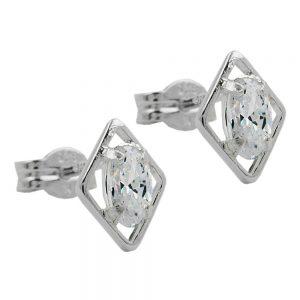 Boucles oreilles clou blanc Zircon argent 925 Krossin bijoux en argent 91489xx