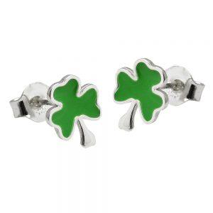Boucles oreilles clou doreille trefle vert argent 925 Krossin bijoux en argent 93582xx