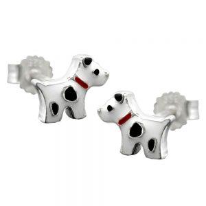 Boucles oreilles clous chien avec des points argent 925 Krossin bijoux en argent 91553xx