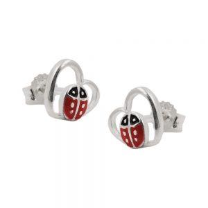 Boucles oreilles clous coccinelle argent 925 Krossin bijoux en argent 93474xx