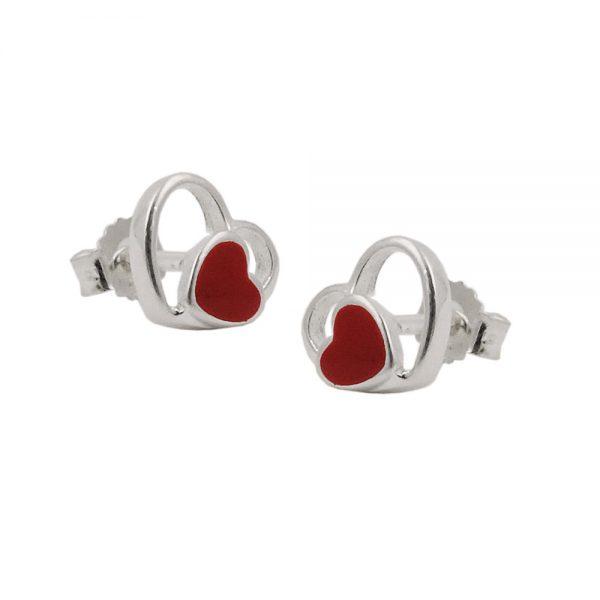Boucles oreilles clous coeur rouge argent 925 Krossin bijoux en argent 93476xx