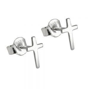 Boucles oreilles clous croix argent poli 925 Krossin bijoux en argent 93560xx