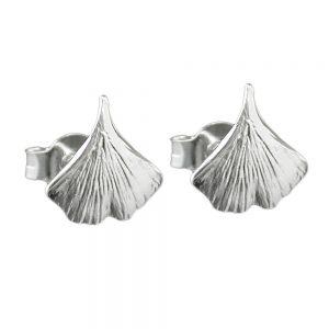Boucles oreilles clous ginkgo feuille argent 925 Krossin bijoux en argent 90204xx