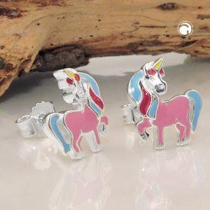 Boucles oreilles clous licorne couleur argent 925 Krossin bijoux en argent 93815x