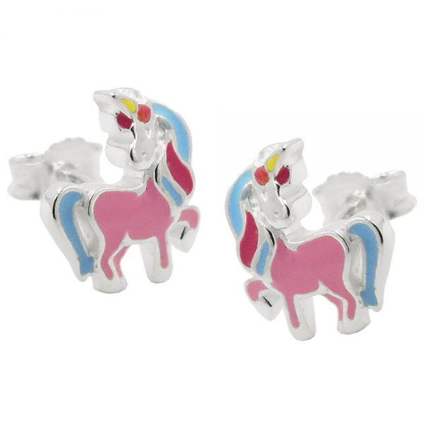 Boucles oreilles clous licorne couleur argent 925 Krossin bijoux en argent 93815xx