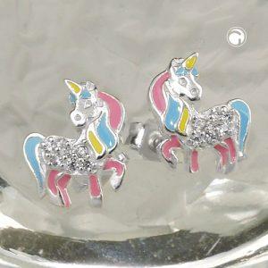 Boucles oreilles clous licorne couleur argent 925 Krossin bijoux en argent 93816x