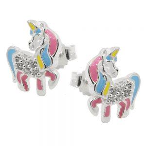 Boucles oreilles clous licorne couleur argent 925 Krossin bijoux en argent 93816xx