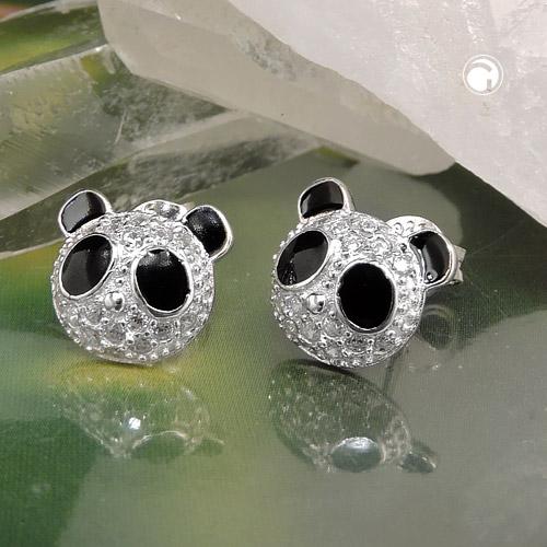 Boucles oreilles clous panda tete argent 925 Krossin bijoux en argent 93538x