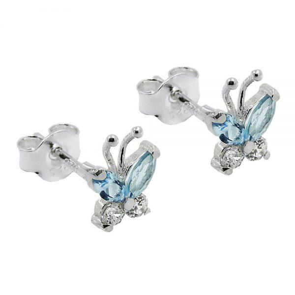 Boucles oreilles clous papillon argent 925 Krossin bijoux en argent 93572xx