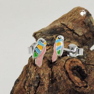 Boucles oreilles clous perroquet couleur argent 925 Krossin bijoux en argent 93761x