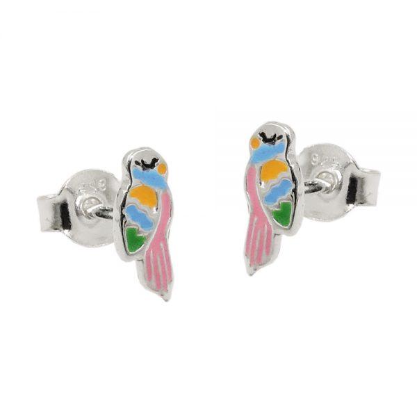 Boucles oreilles clous perroquet couleur argent 925 Krossin bijoux en argent 93761xx