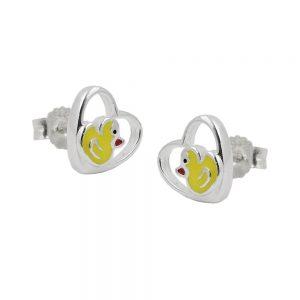 Boucles oreilles clous petit canard argent 925 Krossin bijoux en argent 93477xx