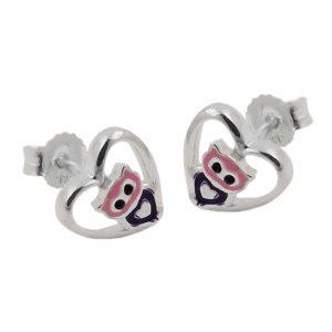 Boucles oreilles clous petit hibou argent 925 Krossin bijoux en argent 93469xx