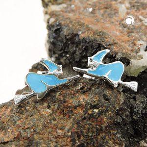 Boucles oreilles clous sorciere bleu argent 925 Krossin bijoux en argent 93574x