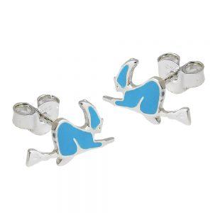 Boucles oreilles clous sorciere bleu argent 925 Krossin bijoux en argent 93574xx