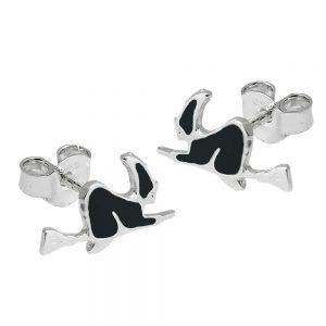 Boucles oreilles clous sorciere noir argent 925 Krossin bijoux en argent 93576xx