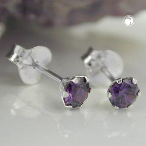 Boucles oreilles clous zircon violet argent 925 Krossin bijoux en argent 93407x