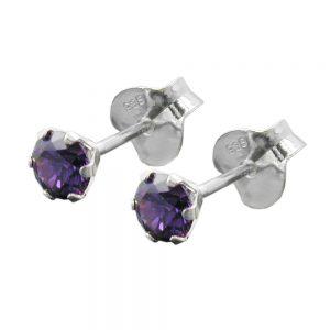 Boucles oreilles clous zircon violet argent 925 Krossin bijoux en argent 93407xx