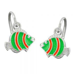 Boucles oreilles clown poisson argent 925 Krossin bijoux en argent 92152xx