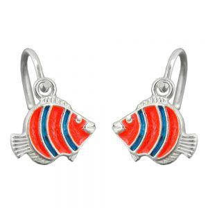 Boucles oreilles clown poisson argent 925 Krossin bijoux en argent 92212xx