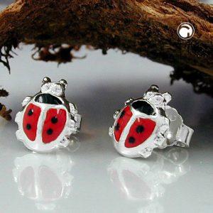 Boucles oreilles coccinelle rouge argent 925 Krossin bijoux en argent 92775x
