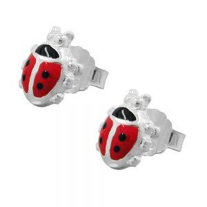 Boucles oreilles coccinelle rouge argent 925 Krossin bijoux en argent 92775xx