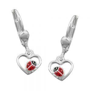 Boucles oreilles coeur coccinelle argent 925 Krossin bijoux en argent 93108xx