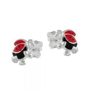 Boucles oreilles course coccinelle argent 925 Krossin bijoux en argent 90530xx