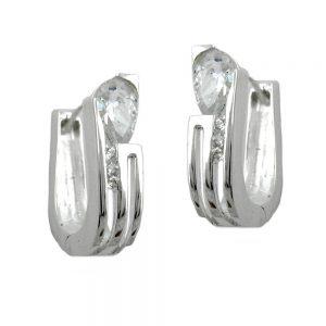 Boucles oreilles creoles Zircon argent 925 Krossin bijoux en argent 90906xx